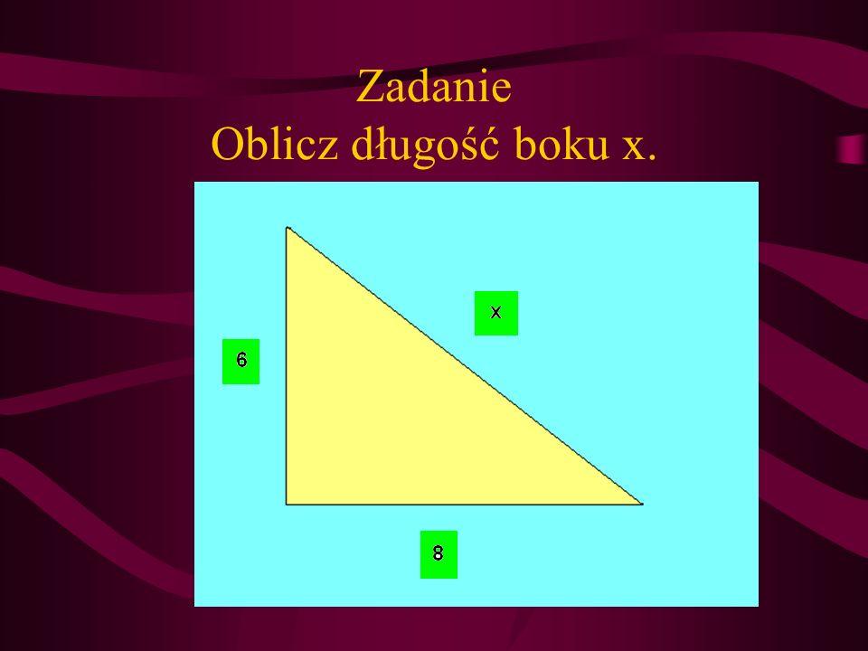 Zadanie Oblicz długość boku x.