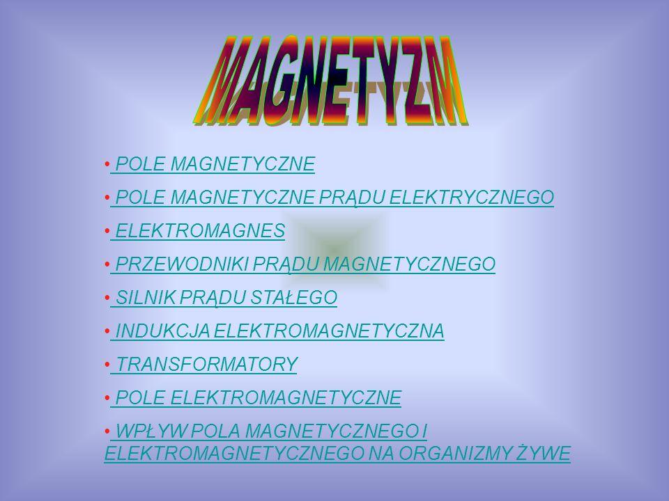 POLE MAGNETYCZNE POLE MAGNETYCZNE POLE MAGNETYCZNE PRĄDU ELEKTRYCZNEGO ELEKTROMAGNES PRZEWODNIKI PRĄDU MAGNETYCZNEGO SILNIK PRĄDU STAŁEGO SILNIK PRĄDU