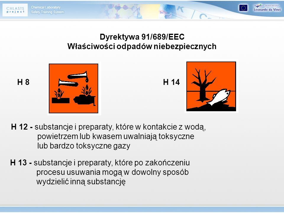 H 8H 14 H 12 - substancje i preparaty, które w kontakcie z wodą, powietrzem lub kwasem uwalniają toksyczne lub bardzo toksyczne gazy H 13 - substancje
