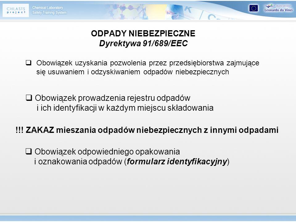 ODPADY NIEBEZPIECZNE Dyrektywa 91/689/EEC Obowiązek uzyskania pozwolenia przez przedsiębiorstwa zajmujące się usuwaniem i odzyskiwaniem odpadów niebez