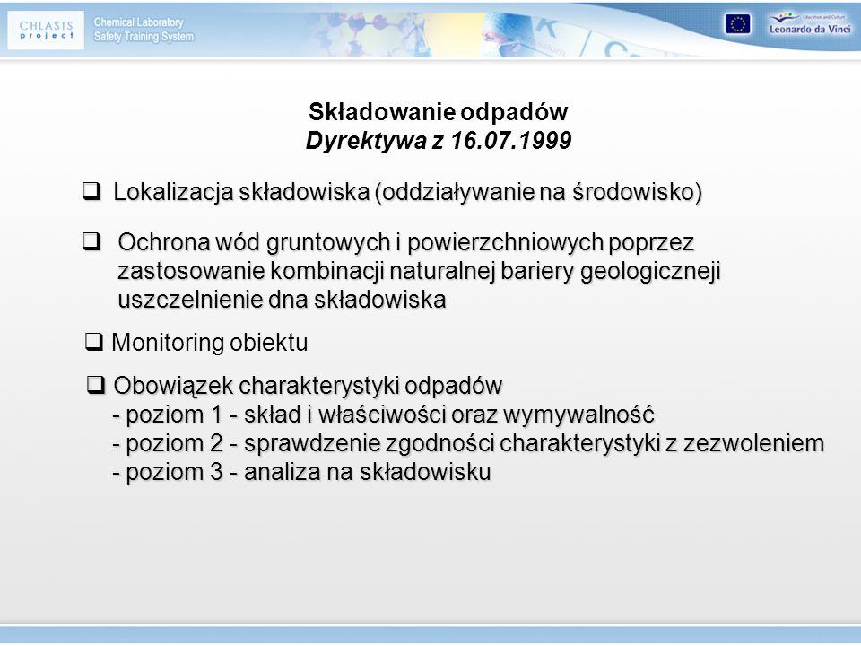 Składowanie odpadów Dyrektywa z 16.07.1999 Lokalizacja składowiska (oddziaływanie na środowisko) Lokalizacja składowiska (oddziaływanie na środowisko)