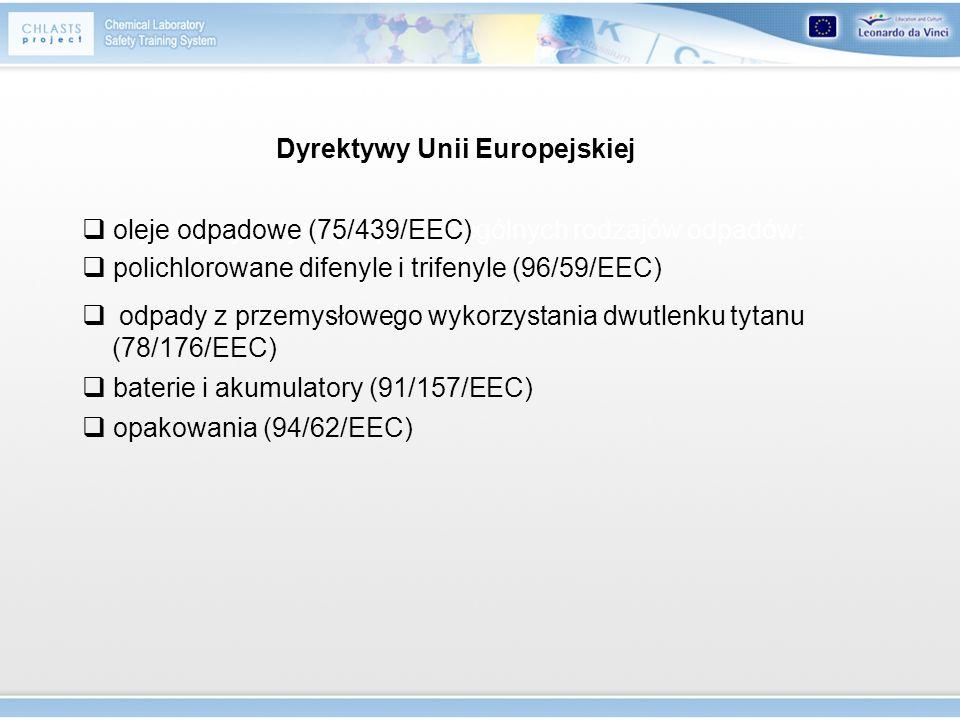 Dyrektywy Unii Europejskiej Dyrektywy dotyczące poszczególnych rodzajów odpadów: oleje odpadowe (75/439/EEC) polichlorowane difenyle i trifenyle (96/5