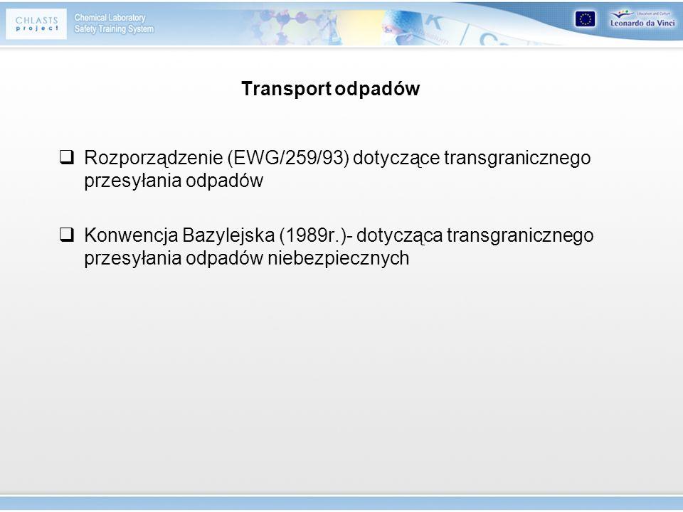 Transport odpadów Rozporządzenie (EWG/259/93) dotyczące transgranicznego przesyłania odpadów Konwencja Bazylejska (1989r.)- dotycząca transgranicznego