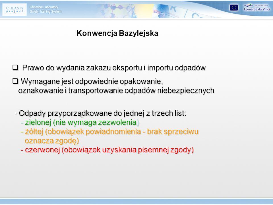 Konwencja Bazylejska Prawo do wydania zakazu eksportu i importu odpadów Prawo do wydania zakazu eksportu i importu odpadów Wymagane jest odpowiednie o
