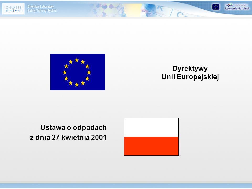 Dyrektywy Unii Europejskiej Ustawa o odpadach z dnia 27 kwietnia 2001