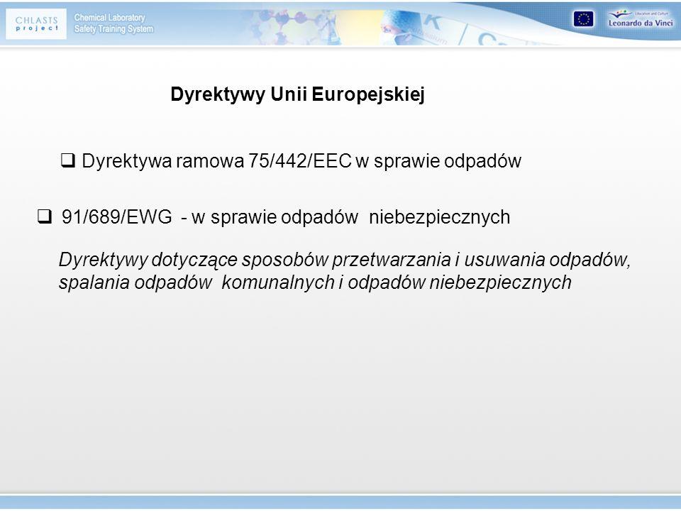 Dyrektywy Unii Europejskiej 91/689/EWG - w sprawie odpadów niebezpiecznych Dyrektywa ramowa 75/442/EEC w sprawie odpadów Dyrektywy dotyczące sposobów