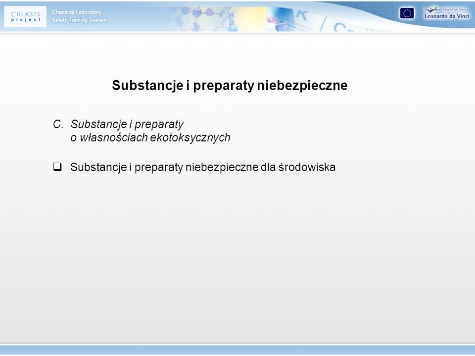 Substancje i preparaty niebezpieczne C. Substancje i preparaty o własnościach ekotoksycznych Substancje i preparaty niebezpieczne dla środowiska