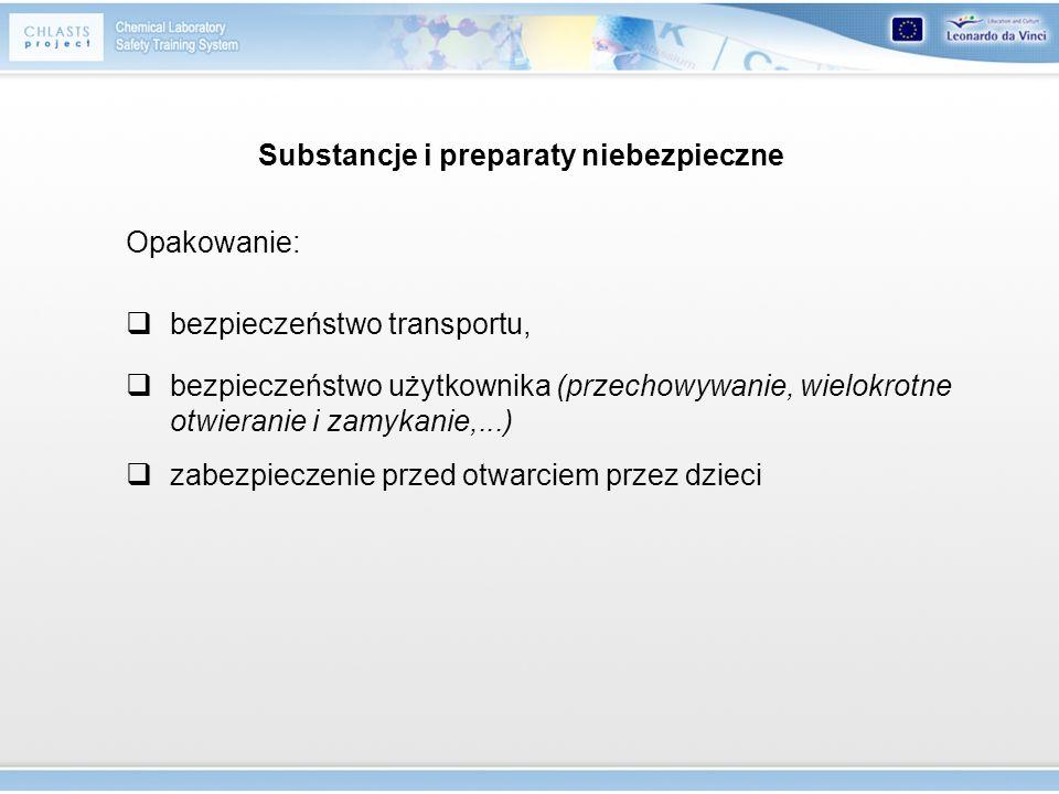 bezpieczeństwo transportu, Opakowanie: bezpieczeństwo użytkownika (przechowywanie, wielokrotne otwieranie i zamykanie,...) zabezpieczenie przed otwarc