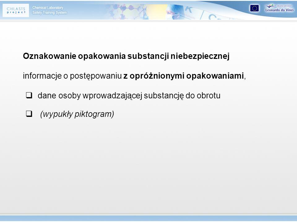 informacje o postępowaniu z opróżnionymi opakowaniami, dane osoby wprowadzającej substancję do obrotu (wypukły piktogram) Oznakowanie opakowania subst