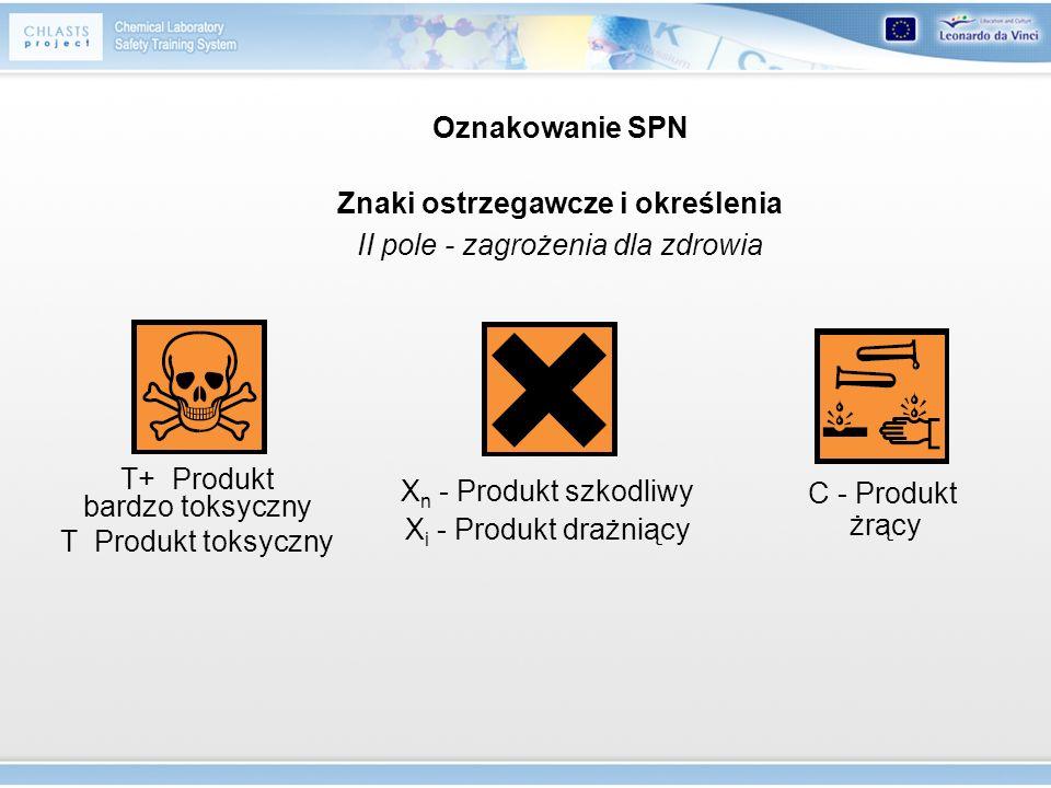 Oznakowanie SPN Znaki ostrzegawcze i określenia II pole - zagrożenia dla zdrowia T+ Produkt bardzo toksyczny T Produkt toksyczny X n - Produkt szkodli