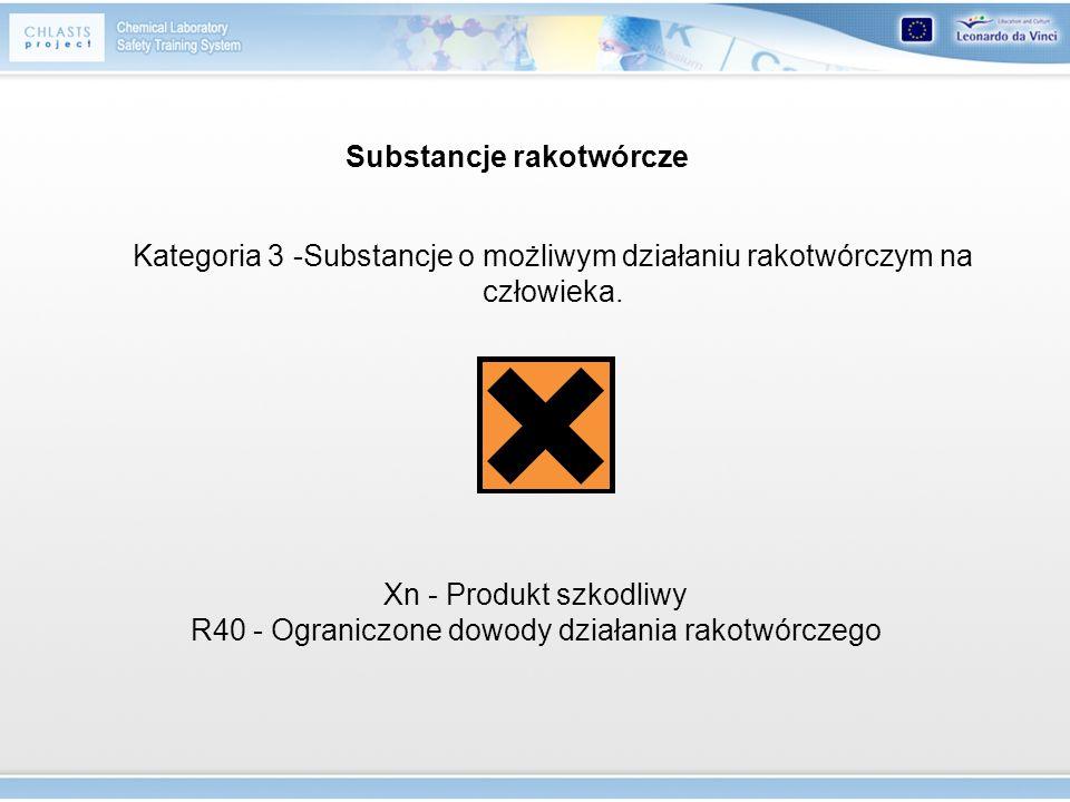 Substancje rakotwórcze Kategoria 3 -Substancje o możliwym działaniu rakotwórczym na człowieka. Xn - Produkt szkodliwy R40 - Ograniczone dowody działan