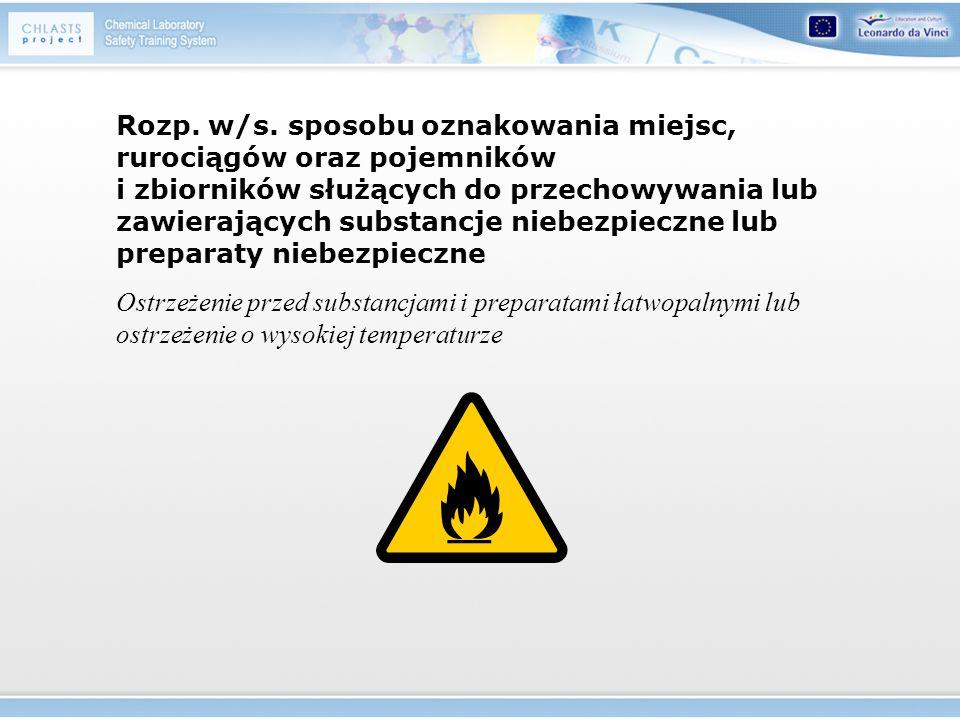 Rozp. w/s. sposobu oznakowania miejsc, rurociągów oraz pojemników i zbiorników służących do przechowywania lub zawierających substancje niebezpieczne