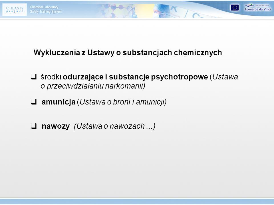 środki odurzające i substancje psychotropowe (Ustawa o przeciwdziałaniu narkomanii) amunicja (Ustawa o broni i amunicji) nawozy (Ustawa o nawozach...)