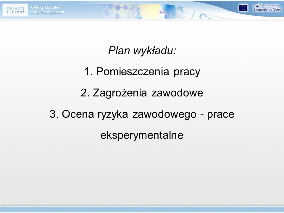 Plan wykładu: 1. Pomieszczenia pracy 2. Zagrożenia zawodowe 3. Ocena ryzyka zawodowego - prace eksperymentalne