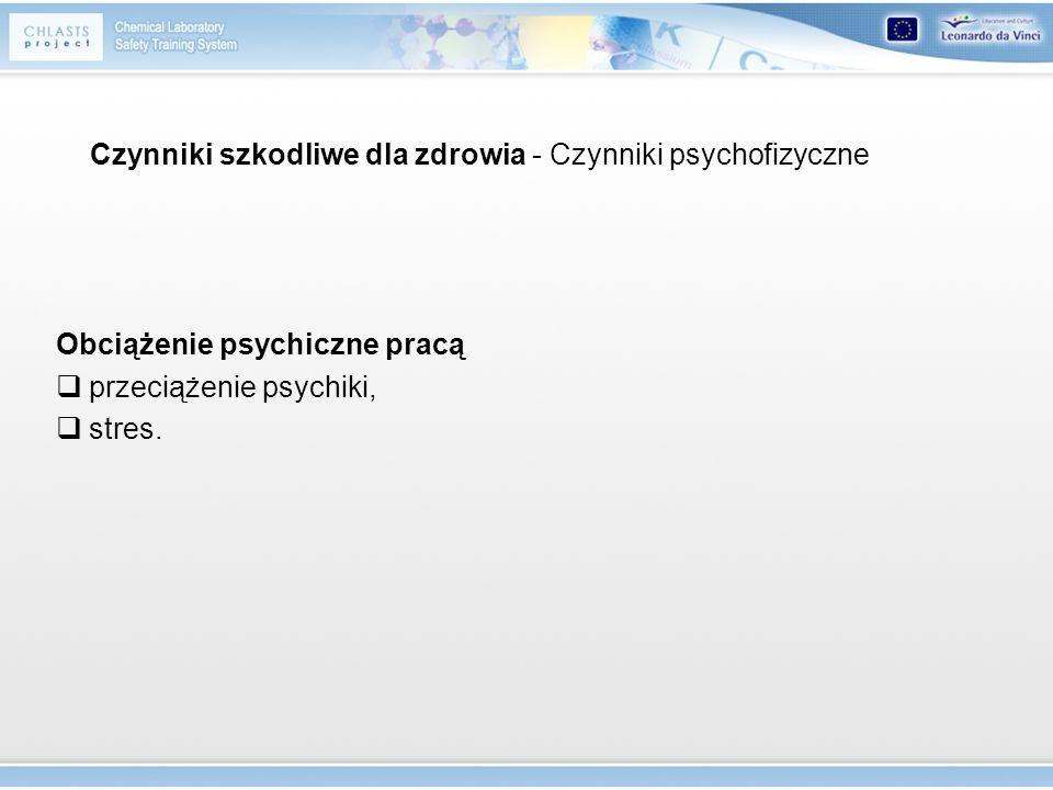 Obciążenie psychiczne pracą przeciążenie psychiki, stres. Czynniki szkodliwe dla zdrowia - Czynniki psychofizyczne