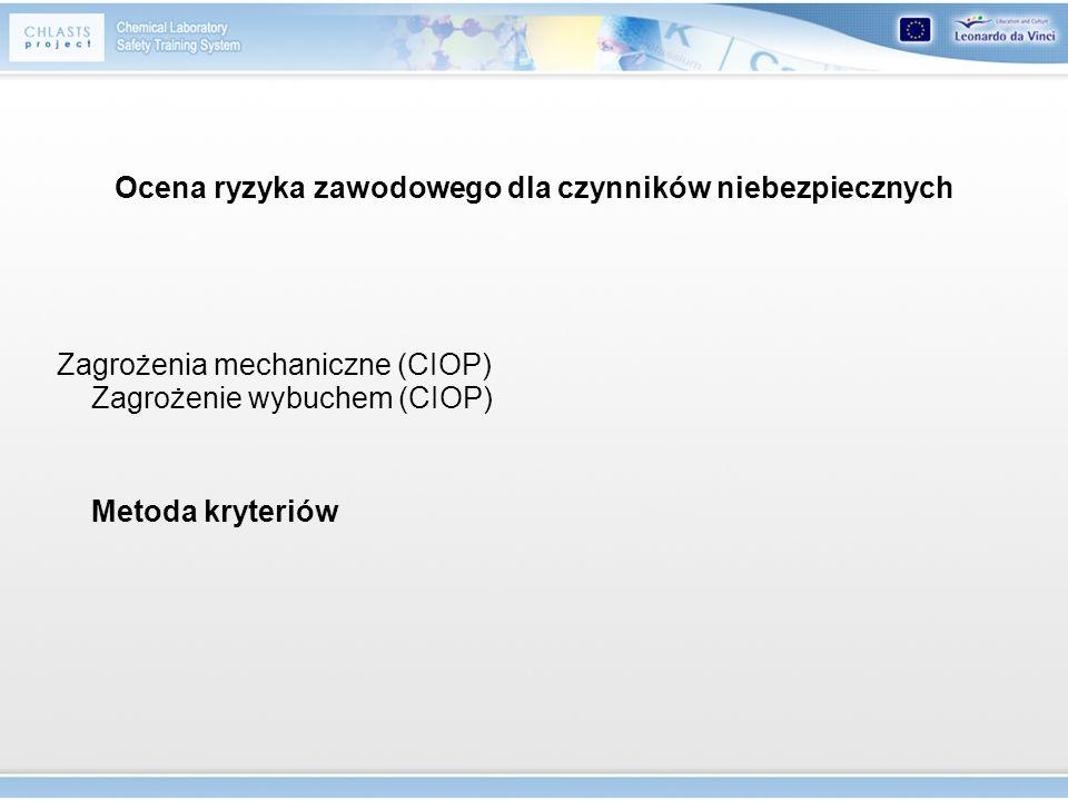 Ocena ryzyka zawodowego dla czynników niebezpiecznych Zagrożenia mechaniczne (CIOP) Zagrożenie wybuchem (CIOP) Metoda kryteriów