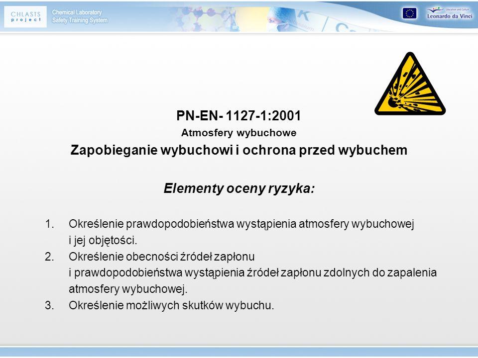 PN-EN- 1127-1:2001 Atmosfery wybuchowe Zapobieganie wybuchowi i ochrona przed wybuchem Elementy oceny ryzyka: 1.Określenie prawdopodobieństwa wystąpie