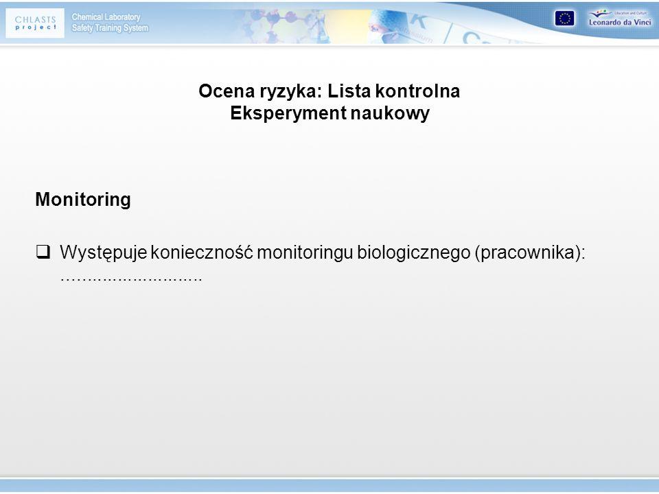 Ocena ryzyka: Lista kontrolna Eksperyment naukowy Monitoring Występuje konieczność monitoringu biologicznego (pracownika):............................