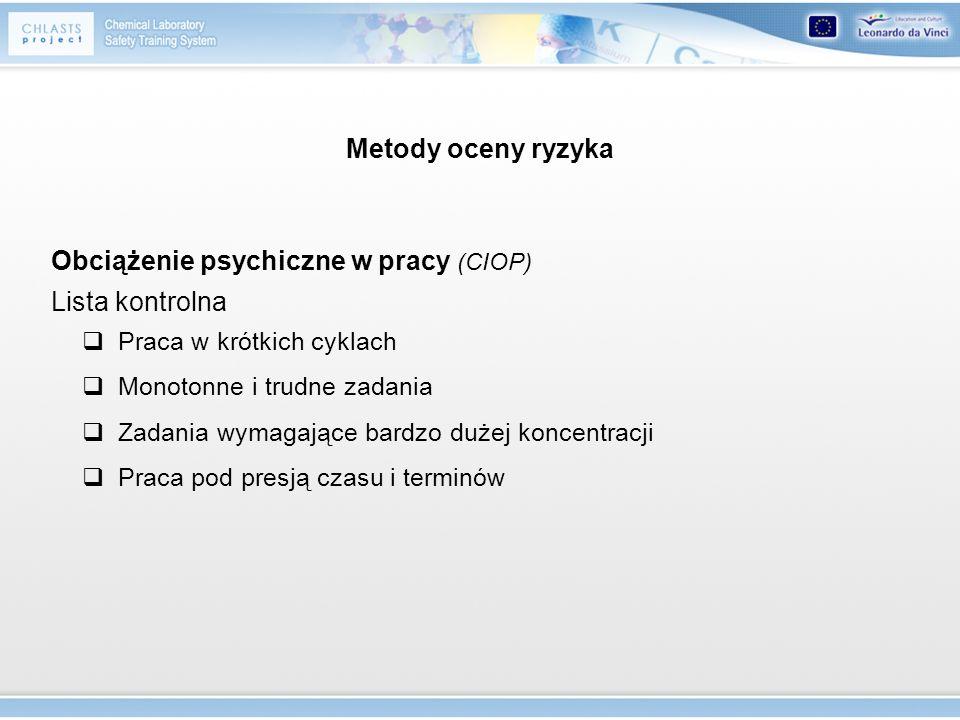 Metody oceny ryzyka Obciążenie psychiczne w pracy (CIOP) Lista kontrolna Praca w krótkich cyklach Monotonne i trudne zadania Zadania wymagające bardzo