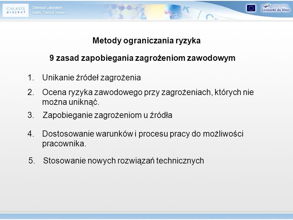 Metody ograniczania ryzyka 9 zasad zapobiegania zagrożeniom zawodowym 1.Unikanie źródeł zagrożenia 2.Ocena ryzyka zawodowego przy zagrożeniach, któryc
