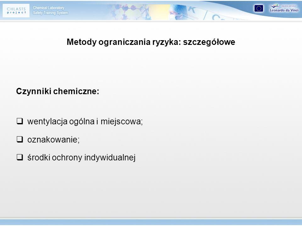 Metody ograniczania ryzyka: szczegółowe Czynniki chemiczne: wentylacja ogólna i miejscowa; oznakowanie; środki ochrony indywidualnej