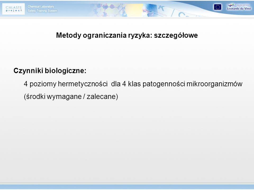 Metody ograniczania ryzyka: szczegółowe Czynniki biologiczne: 4 poziomy hermetyczności dla 4 klas patogenności mikroorganizmów (środki wymagane / zale