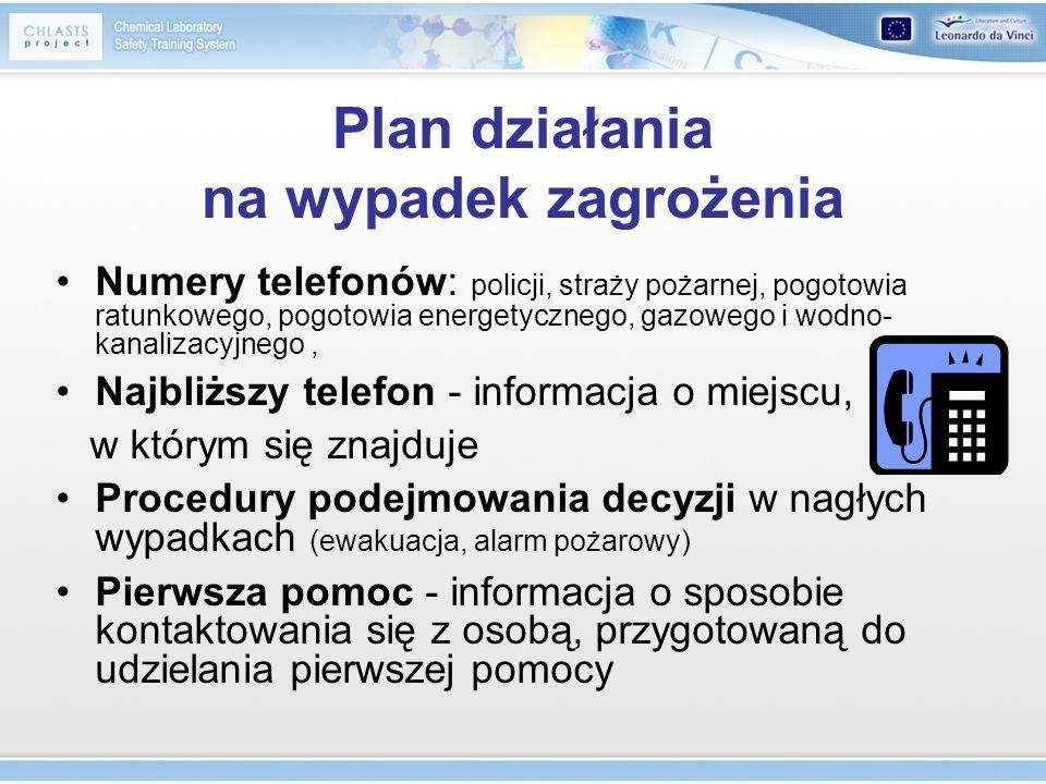 Plan działania na wypadek zagrożenia Numery telefonów: policji, straży pożarnej, pogotowia ratunkowego, pogotowia energetycznego, gazowego i wodno- ka