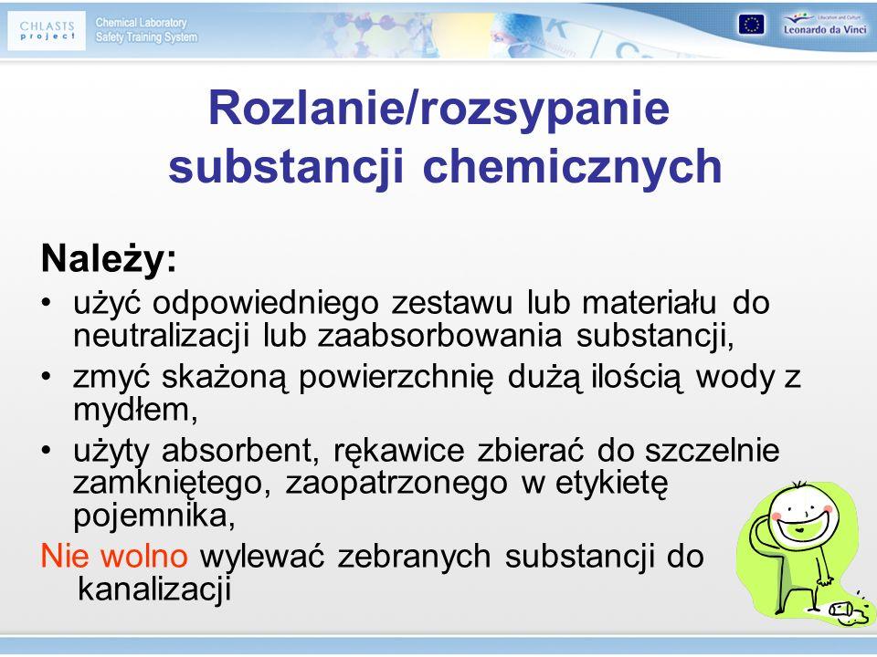 Rozlanie/rozsypanie substancji chemicznych Należy: użyć odpowiedniego zestawu lub materiału do neutralizacji lub zaabsorbowania substancji, zmyć skażo