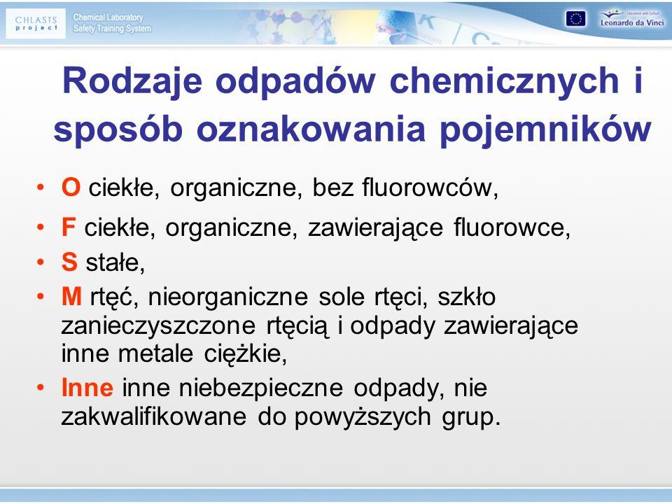 Rodzaje odpadów chemicznych i sposób oznakowania pojemników O ciekłe, organiczne, bez fluorowców, F ciekłe, organiczne, zawierające fluorowce, S stałe