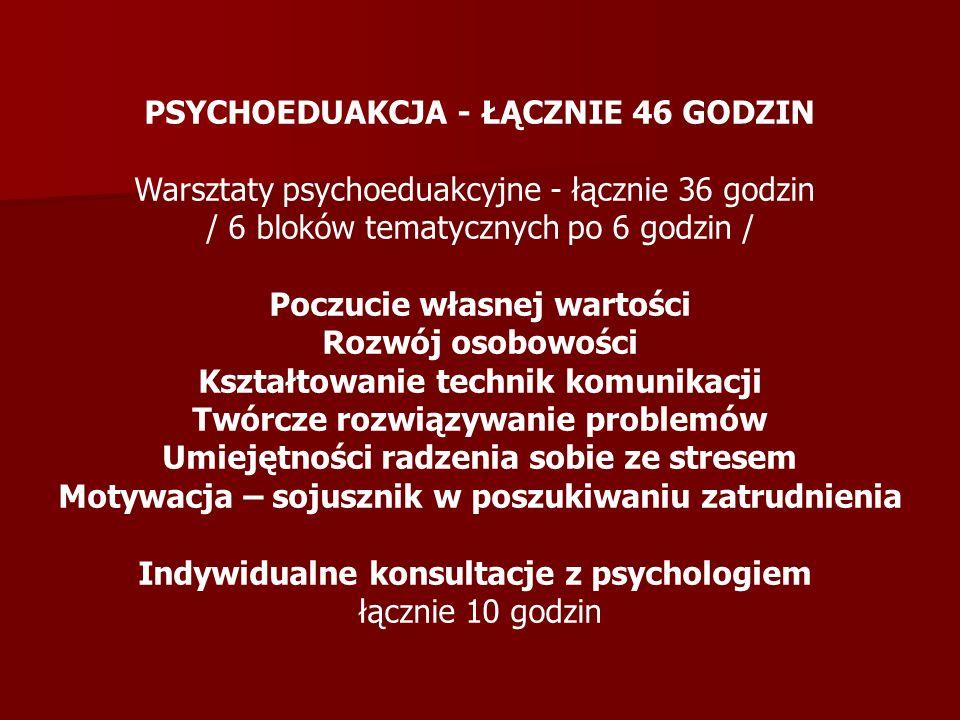 PSYCHOEDUAKCJA - ŁĄCZNIE 46 GODZIN Warsztaty psychoeduakcyjne - łącznie 36 godzin / 6 bloków tematycznych po 6 godzin / Poczucie własnej wartości Rozw