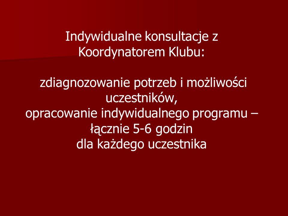 Indywidualne konsultacje z Koordynatorem Klubu: zdiagnozowanie potrzeb i możliwości uczestników, opracowanie indywidualnego programu – łącznie 5-6 god