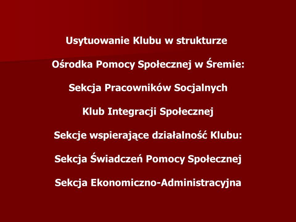 Usytuowanie Klubu w strukturze Ośrodka Pomocy Społecznej w Śremie: Sekcja Pracowników Socjalnych Klub Integracji Społecznej Sekcje wspierające działal