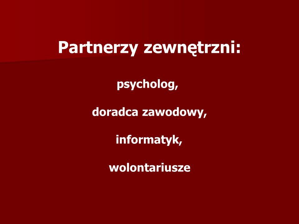 Partnerzy zewnętrzni: psycholog, doradca zawodowy, informatyk, wolontariusze