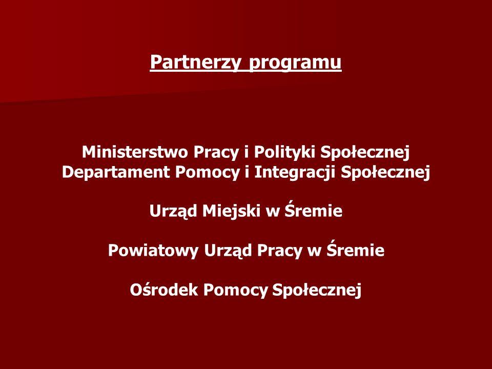 Partnerzy programu Ministerstwo Pracy i Polityki Społecznej Departament Pomocy i Integracji Społecznej Urząd Miejski w Śremie Powiatowy Urząd Pracy w