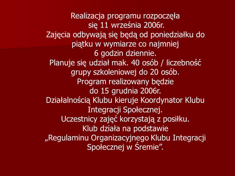 W trakcie realizacji zajęć w Klubie Integracji Społecznej uczestnikom programu zapewniamy: materiały dydaktyczne i szkoleniowe, materiały informacyjne w formie elektronicznej, prasy, literatury, artykułów piśmienniczych, zasobów informatycznych.