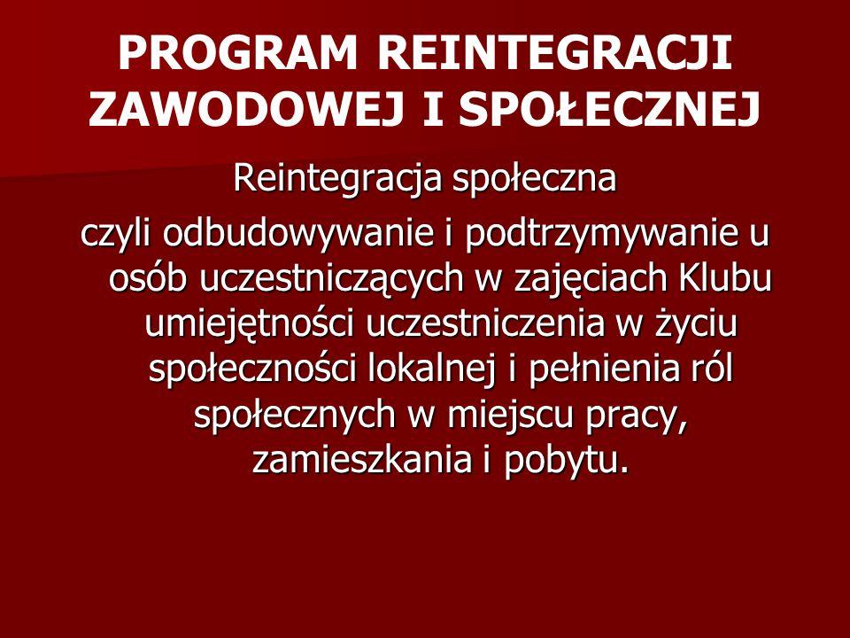 Obowiązki Uczestnika Klubu: Uczestnik jest zobowiązany do uczestnictwa w zajęciach reintegracji zawodowej i społecznej przez co najmniej 6 godzin dziennie.