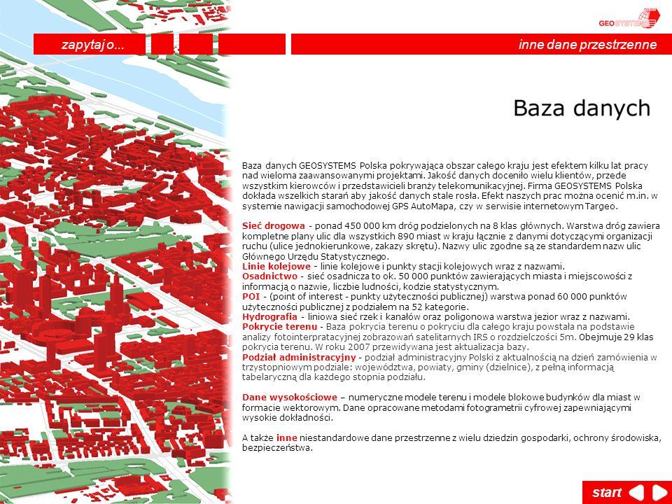 Baza danych GEOSYSTEMS Polska pokrywająca obszar całego kraju jest efektem kilku lat pracy nad wieloma zaawansowanymi projektami. Jakość danych doceni
