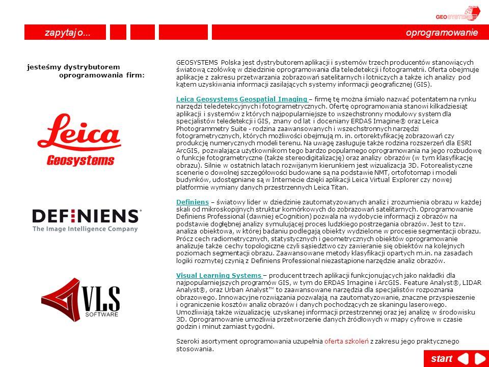 GEOSYSTEMS Polska jest dystrybutorem aplikacji i systemów trzech producentów stanowiących światową czołówkę w dziedzinie oprogramowania dla teledetekc