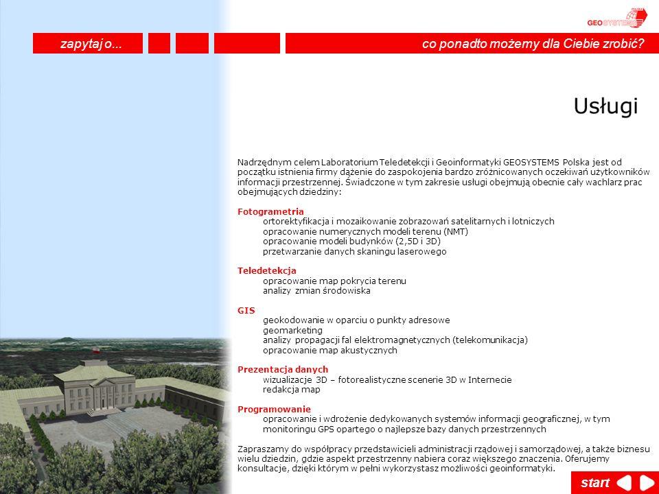 Nadrzędnym celem Laboratorium Teledetekcji i Geoinformatyki GEOSYSTEMS Polska jest od początku istnienia firmy dążenie do zaspokojenia bardzo zróżnico