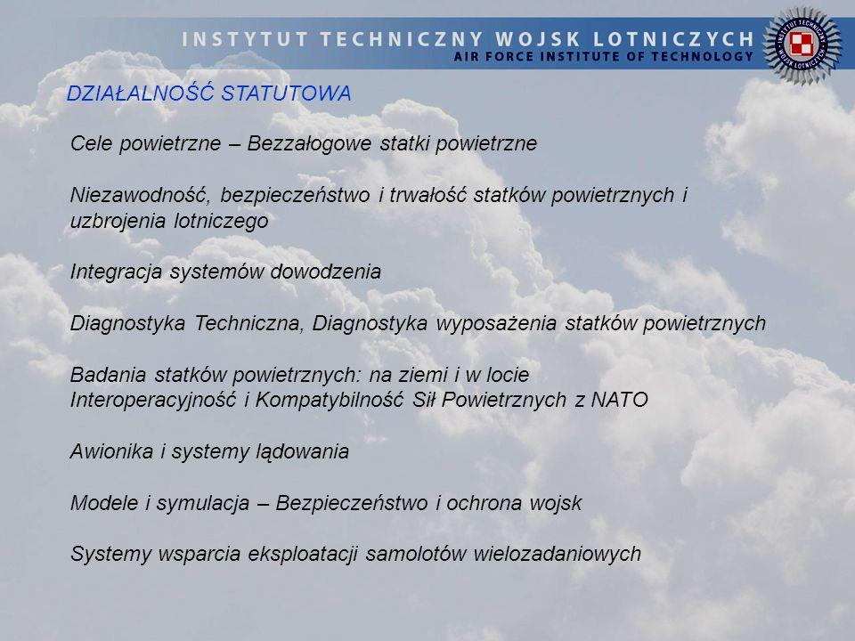 DZIAŁALNOŚĆ STATUTOWA Cele powietrzne – Bezzałogowe statki powietrzne Niezawodność, bezpieczeństwo i trwałość statków powietrznych i uzbrojenia lotnic