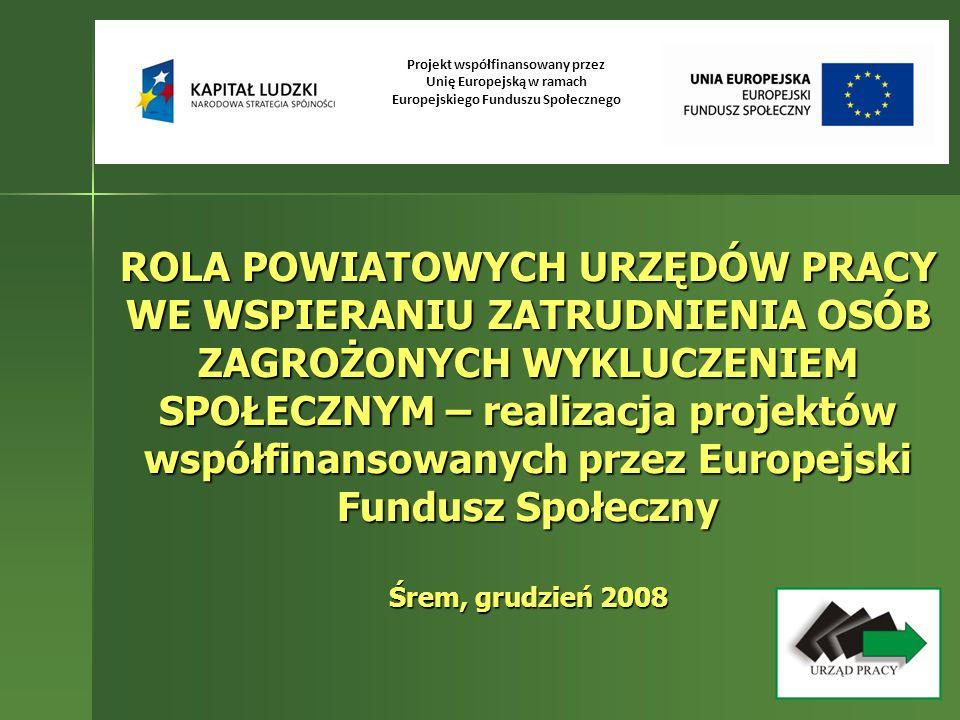ROLA POWIATOWYCH URZĘDÓW PRACY WE WSPIERANIU ZATRUDNIENIA OSÓB ZAGROŻONYCH WYKLUCZENIEM SPOŁECZNYM – realizacja projektów współfinansowanych przez Eur