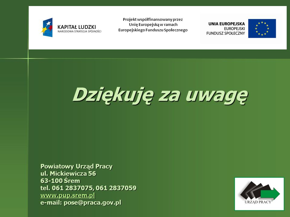 Projekt współfinansowany przez Unię Europejską w ramach Europejskiego Funduszu Społecznego Dziękuję za uwagę Powiatowy Urząd Pracy ul. Mickiewicza 56