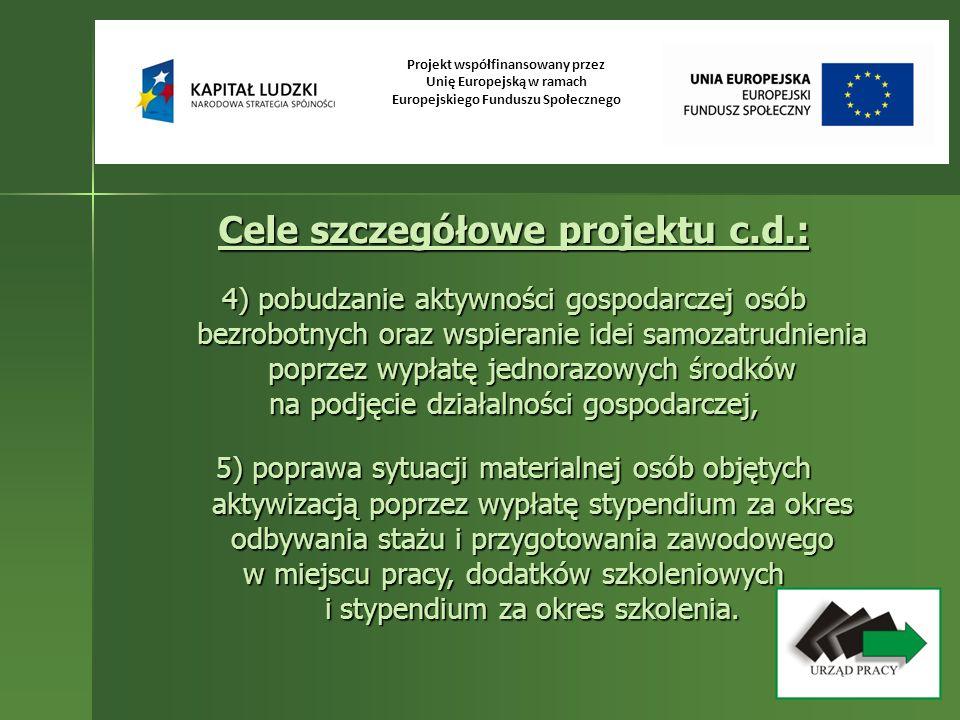 Projekt współfinansowany przez Unię Europejską w ramach Europejskiego Funduszu Społecznego Cele szczegółowe projektu c.d.: 4) pobudzanie aktywności go