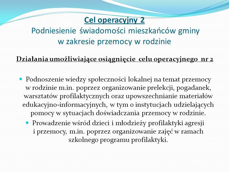 Cel operacyjny 2 Podniesienie świadomości mieszkańców gminy w zakresie przemocy w rodzinie Działania umożliwiające osiągnięcie celu operacyjnego nr 2