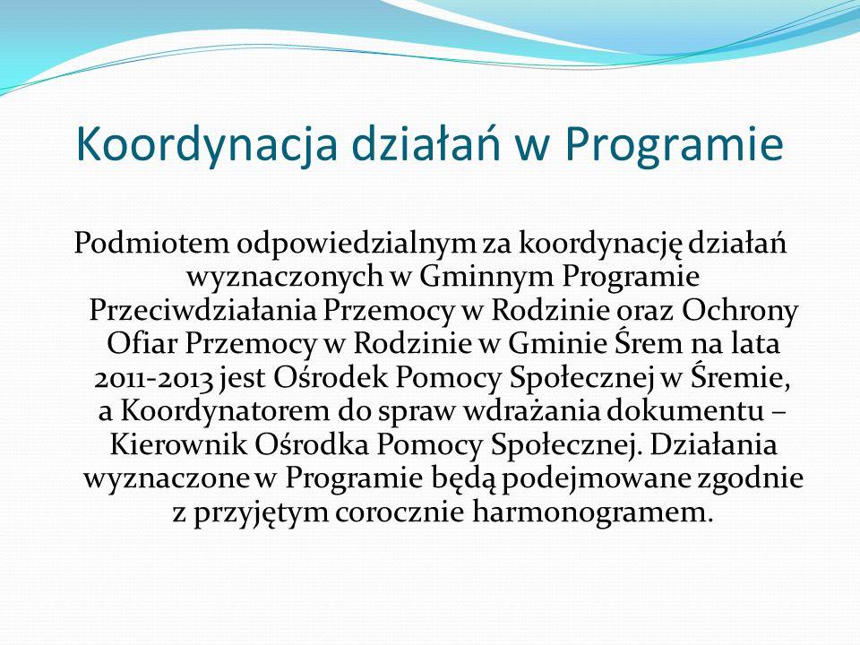 Koordynacja działań w Programie Podmiotem odpowiedzialnym za koordynację działań wyznaczonych w Gminnym Programie Przeciwdziałania Przemocy w Rodzinie