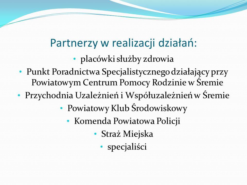 Partnerzy w realizacji działań: placówki służby zdrowia Punkt Poradnictwa Specjalistycznego działający przy Powiatowym Centrum Pomocy Rodzinie w Śremi