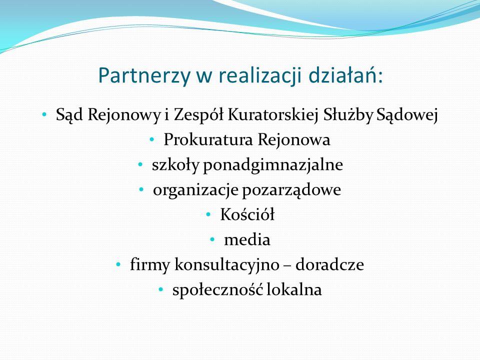 Partnerzy w realizacji działań: Sąd Rejonowy i Zespół Kuratorskiej Służby Sądowej Prokuratura Rejonowa szkoły ponadgimnazjalne organizacje pozarządowe