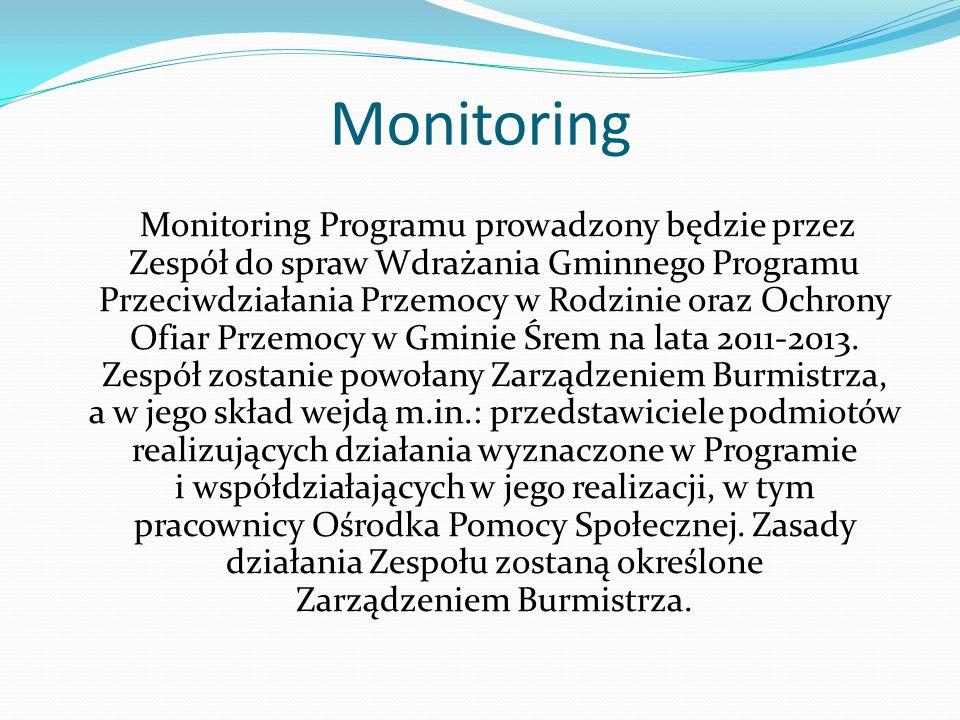 Monitoring Monitoring Programu prowadzony będzie przez Zespół do spraw Wdrażania Gminnego Programu Przeciwdziałania Przemocy w Rodzinie oraz Ochrony O