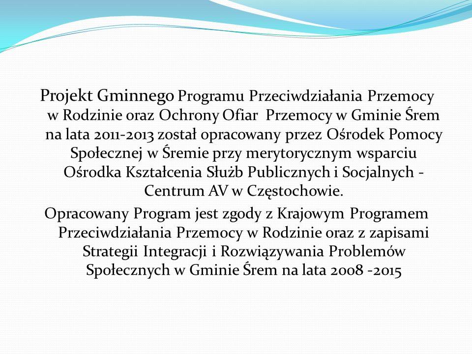 Projekt Gminnego Programu Przeciwdziałania Przemocy w Rodzinie oraz Ochrony Ofiar Przemocy w Gminie Śrem na lata 2011-2013 został opracowany przez Ośr