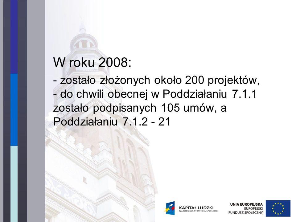 W roku 2008: - zostało złożonych około 200 projektów, - do chwili obecnej w Poddziałaniu 7.1.1 zostało podpisanych 105 umów, a Poddziałaniu 7.1.2 - 21